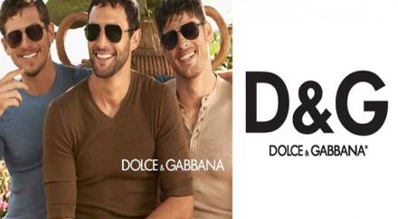 Dolce&Gabbana logo i trzech panów w okulrach